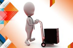 3d man server on hand truck illustration Royalty Free Stock Photography