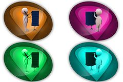 3d man server doctor icon Stock Photo