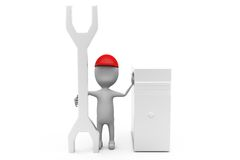 3d man server repair concept Stock Photography