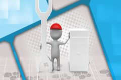 3d man server repair illustration Royalty Free Stock Photography