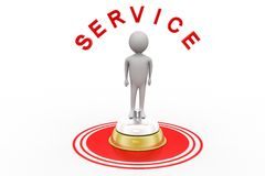3d Man With Service bell and service text Royalty Free Stock Photography