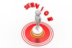 3d Man With Service bell and service text Stock Photography