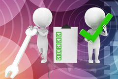 3d man service - work check list accept illustration Stock Photo