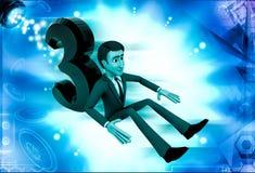 3d man setting beside 3 letter illustration Stock Photo