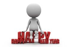 3d man setting on new year concept Royalty Free Stock Image