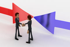 3d man shaking hand and arrows facing in middle concept Royalty Free Stock Photos
