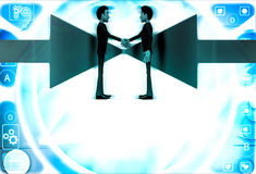 3d man shaking hand and arrows facing in middle illustration Royalty Free Stock Photo