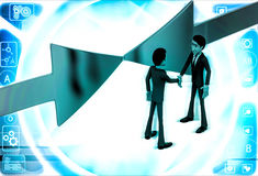3d man shaking hand and arrows facing in middle illustration Royalty Free Stock Photography