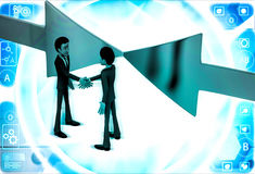 3d man shaking hand and arrows facing in middle illustration Stock Photos