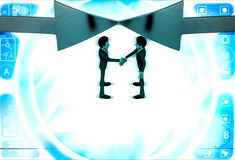 3d man shaking hand and arrows facing in middle illustration Stock Photo