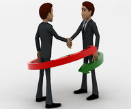 3d man shaking hand and two red and green arrow around them concept Stock Photo