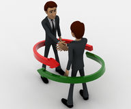 3d man shaking hand and two red and green arrow around them concept Stock Photos