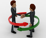3d man shaking hand and two red and green arrow around them concept Stock Images