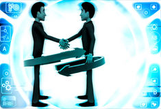 3d man shaking hand and two red and green arrow around them illustration Royalty Free Stock Photo