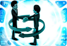 3d man shaking hand and two red and green arrow around them illustration Royalty Free Stock Photography