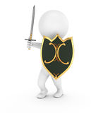 3d man with shield and sword. On white background. 3d render Stock Photography