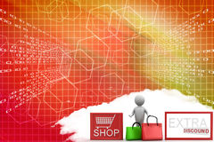 3d Man With Shop Icon Extra Discount Illustration Royalty Free Stock Images