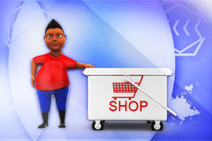 3d man with shop illustration Stock Photography