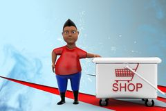 3d man shop Illustration Stock Photo