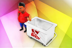 3d man with shop illustration Stock Photo