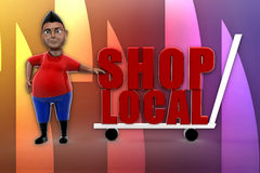 3D man shop local illustration Stock Image