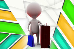 3d man shop luggage illustration Stock Photography
