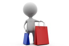 3d man shoping bags concept Royalty Free Stock Photo
