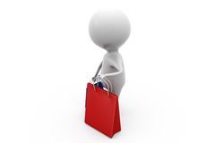 3d man shoping bags concept Stock Photo