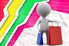3d man shoping bags illustration Stock Photography