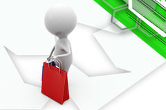 3d man shoping bags illustration Royalty Free Stock Photography