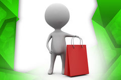 3d man shoping illustration Royalty Free Stock Photography