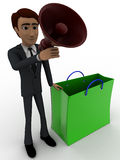 3d man with shopping bag and speaker concept Stock Image
