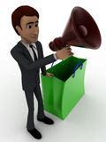 3d man with shopping bag and speaker concept Royalty Free Stock Images
