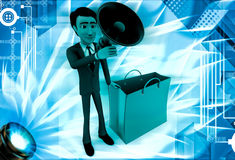 3d man with shopping bag and speaker illustration Royalty Free Stock Image