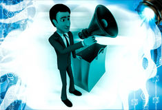 3d man with shopping bag and speaker illustration Royalty Free Stock Photography