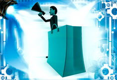 3d man with shopping bag and speaker illustration Stock Image