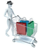 3d man with shopping bags.  Royalty Free Stock Photography