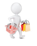 3D man with shopping bags and cart. Isolated on white background Royalty Free Stock Photos