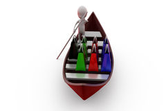 3d man shopping boat concept Royalty Free Stock Images