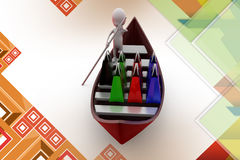 3d man shopping boat  illustration Stock Images