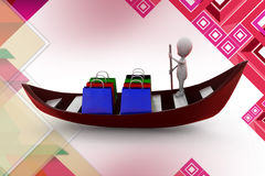3d man shopping boat  illustration Royalty Free Stock Images
