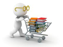 3D Man Shopping for Books. A 3d guy wearing glasses pushing a shopping cart filled with books Royalty Free Stock Photography