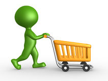 3d man with a shopping car Stock Images