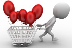 3d man with shopping cart and ballon Stock Photos
