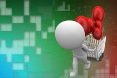3d man with shopping cart and balloon Stock Images
