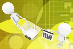 3D man with shopping cart and calculator illustration Stock Photos