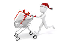 3d man with shopping cart and present box. On white background vector illustration