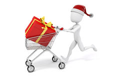 3d man with shopping cart and present box. On white background royalty free illustration