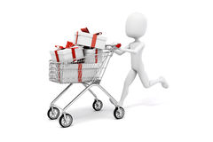 3d man with shopping cart and present box. On white background stock illustration