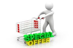 3d man with shopping cart and special offer Stock Photos